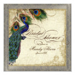 Peacock & Feathers Bridal Shower Silver Metallic 5.25x5.25 Square Paper Invitation Card