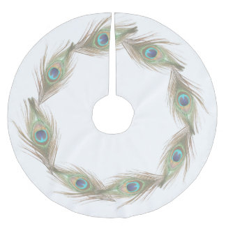 Peacock Feathers Brushed Polyester Tree Skirt