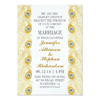peacock feathers classic white wedding invitations