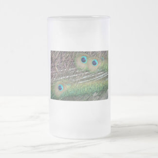 Peacock feathers close up peafowl design 16 oz frosted glass beer mug