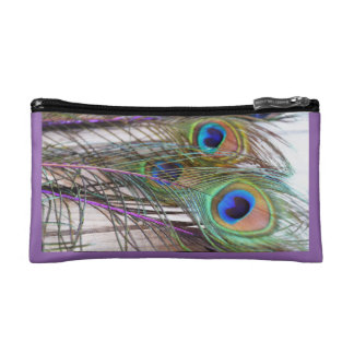 Peacock Feathers Cosmetic Case with Purple Accents
