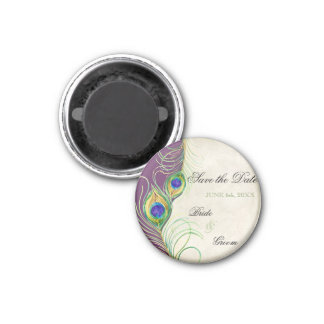 Peacock Feathers Damask Save the Date Magnet