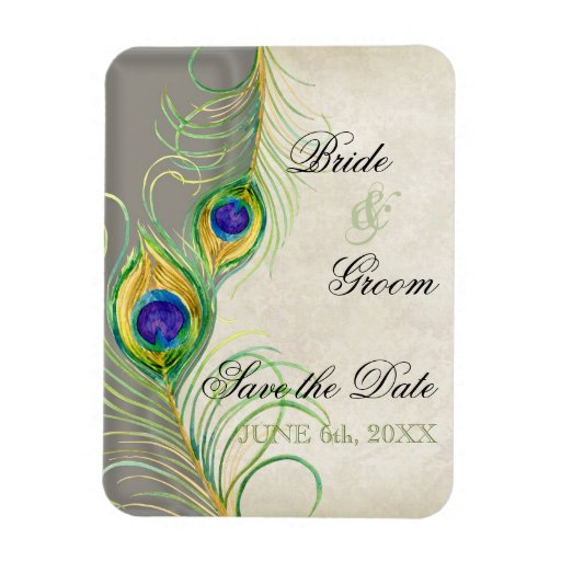 Peacock Feathers Damask Save the Date Vinyl Magnets