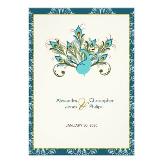 Peacock Feathers Damask Wedding Personalized Announcement