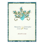 Peacock Feathers Damask Wedding 4.5x6.25 Paper Invitation Card