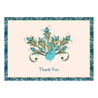 Peacock Feathers Damask Wedding Thank You Minicard Business Cards