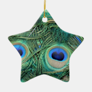Peacock Feathers Deep Green Large Eyes Ceramic Ornament