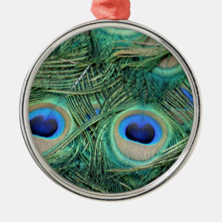 Peacock Feathers Deep Green Large Eyes Metal Ornament