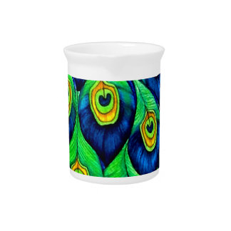 Peacock Feathers Design Beverage Pitchers