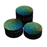 Peacock Feathers Design Poker Chip Poker Chips Set