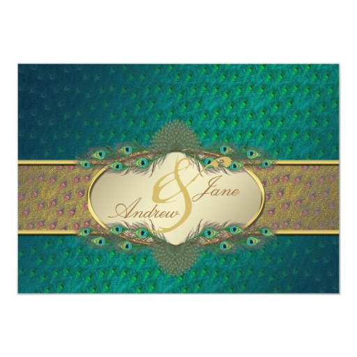 Peacock feathers elegant engagement invitations