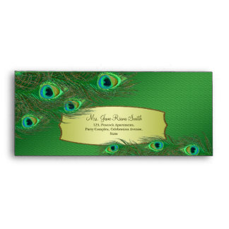 Peacock feathers elegant green #10 envelopes
