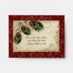 Peacock & Feathers Elegant Matching Wedding Set Envelopes
