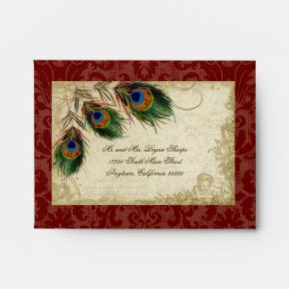 Peacock Feathers Elegant Matching Wedding Set Envelopes