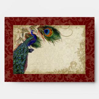 Peacock Feathers Elegant Matching Wedding Set Envelope