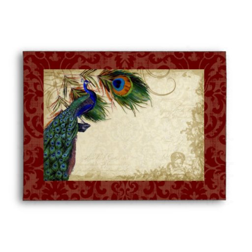 Peacock & Feathers Elegant Matching Wedding Set Envelope