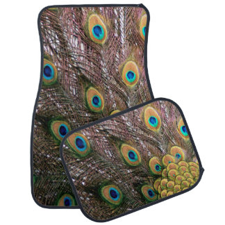 Peacock Feathers Emerald Green and Gold Car Floor Mat