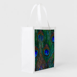 Peacock Feathers Etching Style Reusable Grocery Bag
