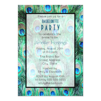 Peacock Feathers Exotic Bachelorette Party Invite