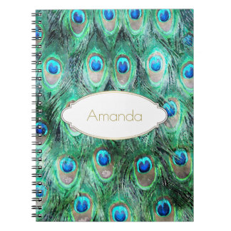 Peacock Feathers Exotic Wild Watercolor Pattern Notebook