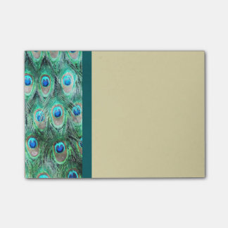 Peacock Feathers Exotic Wild Watercolor Pattern Post-it® Notes