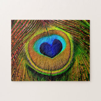 Peacock Feathers Eye of Love Jigsaw Puzzle