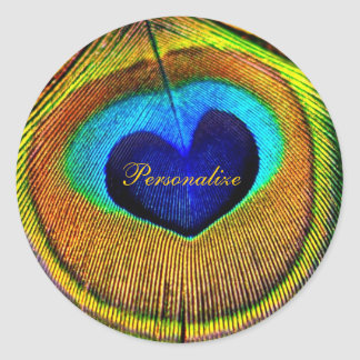 Peacock Feathers Eye of Love With Name Classic Round Sticker