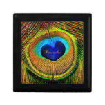 Peacock Feathers Eye of Love With Name Jewelry Boxes