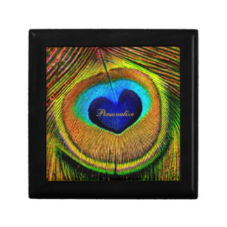 Peacock Feathers Eye of Love With Name Jewelry Box