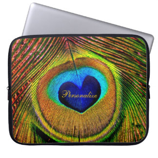 Peacock Feathers Eye of Love With Name Laptop Computer Sleeves