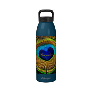 Peacock Feathers Eye of Love With Name Water Bottle