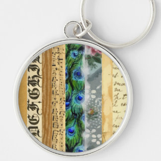Peacock Feathers, Flowers, Leaves, Music Notes Silver-Colored Round Keychain