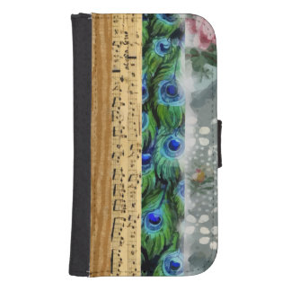 Peacock Feathers, Flowers, Leaves, Music Notes Samsung S4 Wallet Case