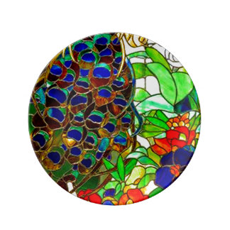 Peacock Feathers Flowers Stained Glass Window Art Dinner Plate