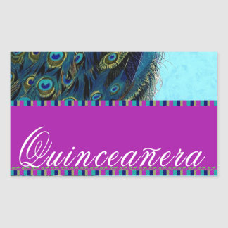 Peacock feathers for a quinceanera rectangular sticker