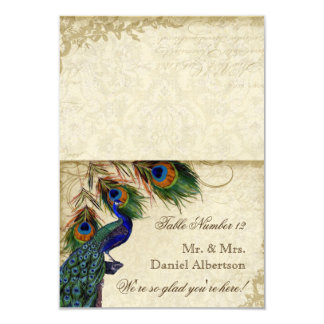 """Peacock & Feathers Formal DIY Folding Tent Cards 3.5"""" X 5"""" Invitation Card"""
