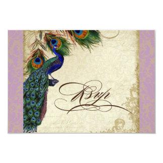 Peacock & Feathers Formal RSVP Response Aqua Blue Card