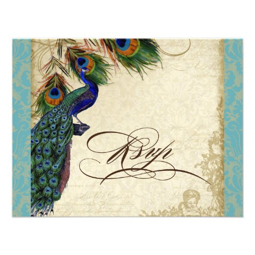 Peacock & Feathers Formal RSVP Response Aqua Blue Announcement