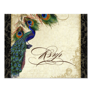 Peacock & Feathers Formal RSVP Response Black Tan 4.25x5.5 Paper Invitation Card