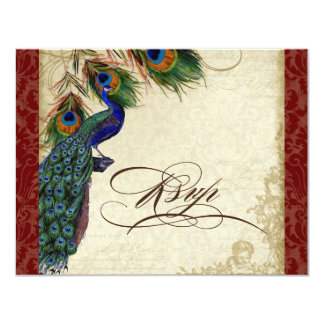Peacock & Feathers Formal RSVP Response Burgundy 4.25x5.5 Paper Invitation Card