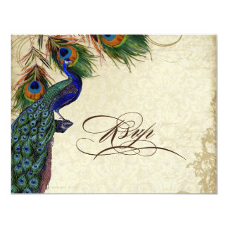 Peacock & Feathers Formal RSVP Response Cream 4.25x5.5 Paper Invitation Card