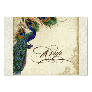 Peacock & Feathers Formal RSVP Response Cream Card