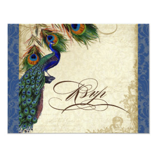 Peacock & Feathers Formal RSVP Response Navy Blue 4.25x5.5 Paper Invitation Card