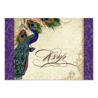 Peacock & Feathers Formal RSVP Response Purple 3.5x5 Paper Invitation Card