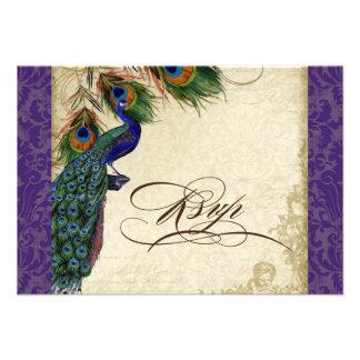 Peacock & Feathers Formal RSVP Response Purple Custom Invite