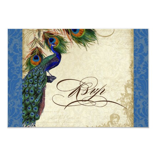 Peacock & Feathers Formal RSVP Response Royal Blue Card