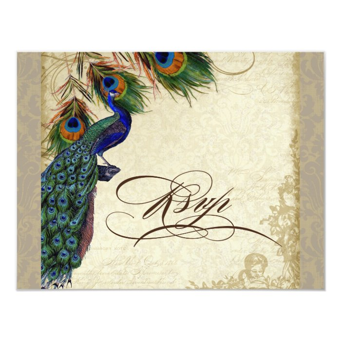 Peacock & Feathers Formal RSVP Response Taupe Tan Card