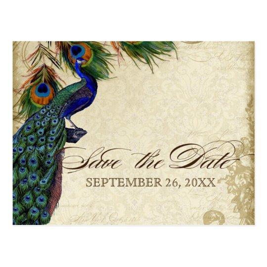 Peacock & Feathers Formal Save the Date Aqua Blue Postcard