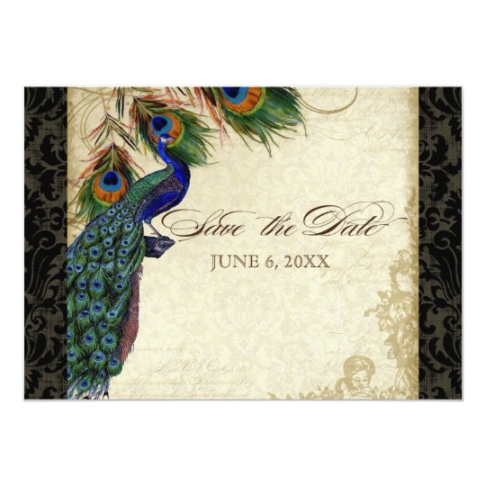 Peacock & Feathers Formal Save the Date Black Tan Card