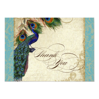 Peacock Feathers Formal Thank You Notes Aqua Blue 5x7 Paper Invitation Card
